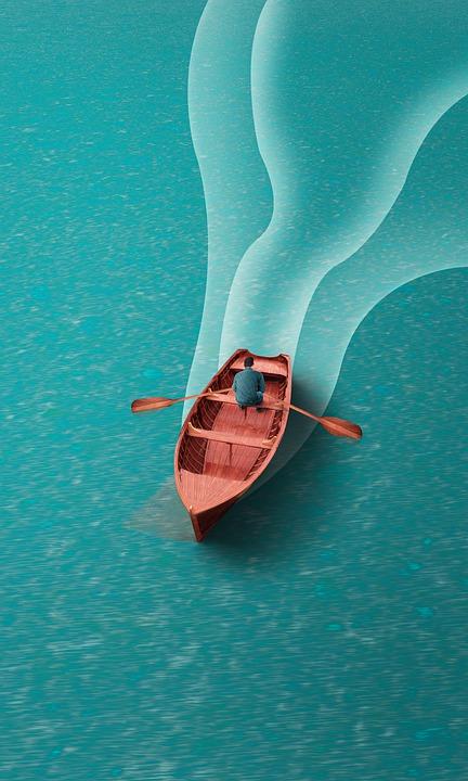 Boat, Sea, Ocean, Rowing, Wood, Man, Person, Water