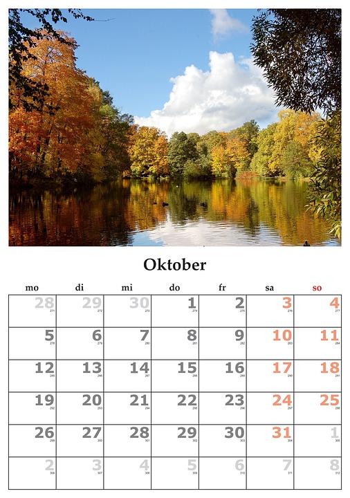 month of october calendar