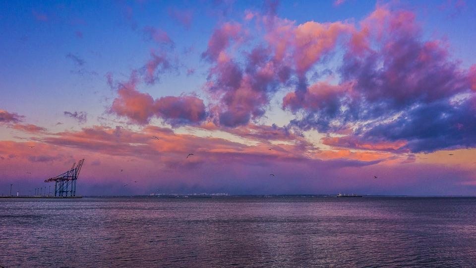 Odessa, Port, Evening, Cranes, Clouds, Sunset