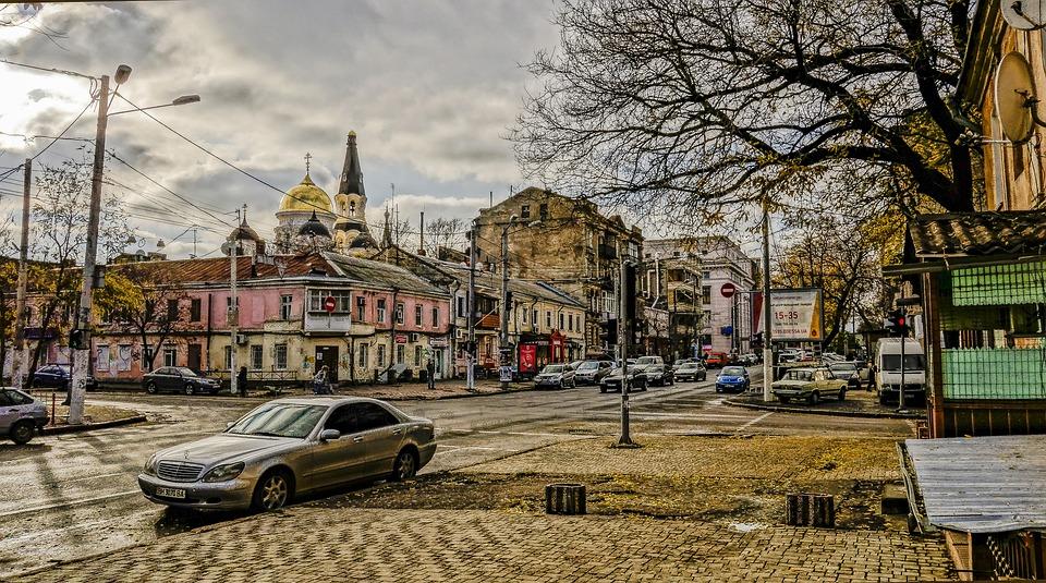 Odessa, Street, Machinery, Church