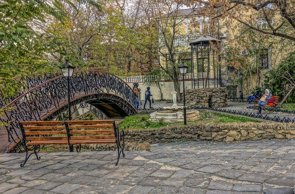 Odessa, Park, Bridge, Humpback, Bench, People