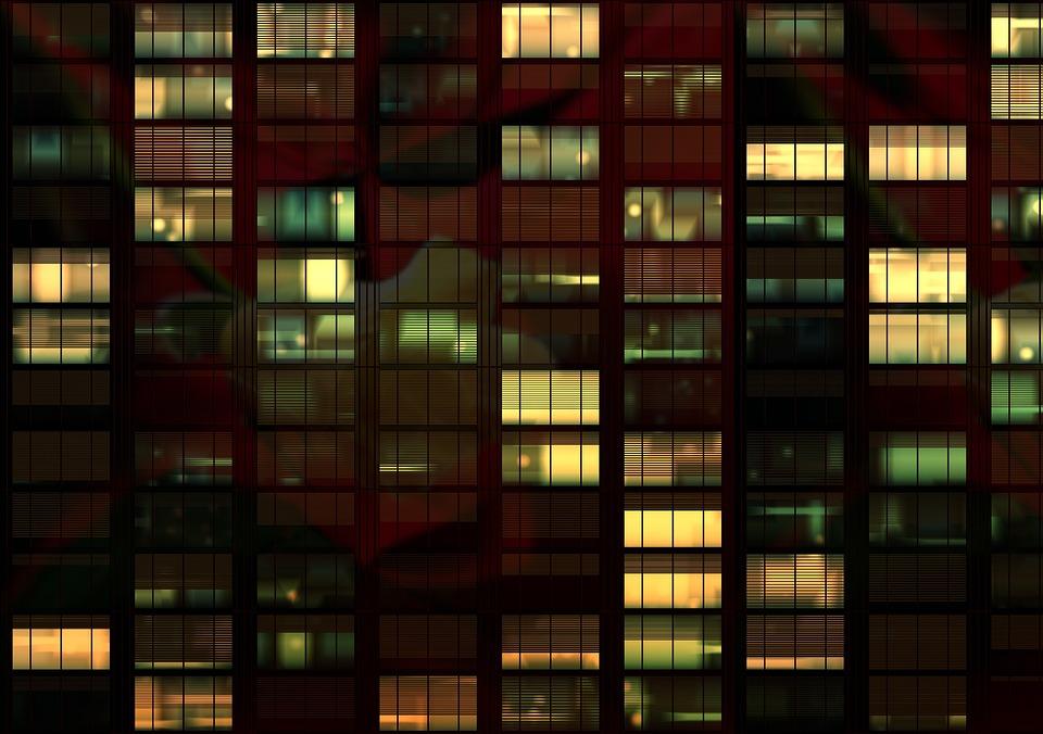 Office, Office Building, Night, Evening, Lights, Window