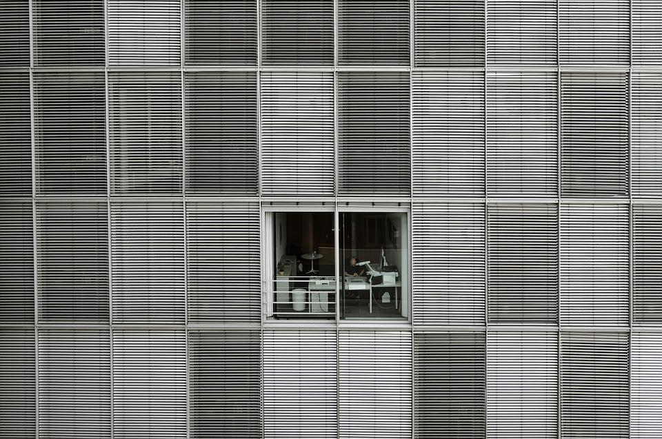 Office, Building, Window, Structure, Venetian Blinds