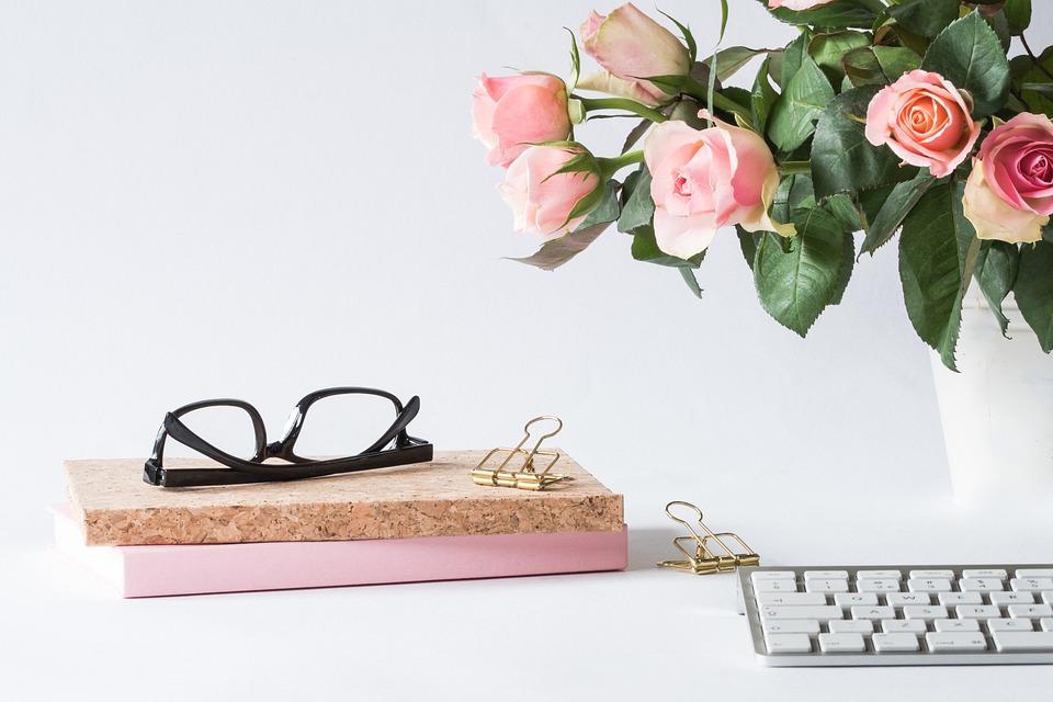 Office, Glasses, Rose, Business, Woman, Desk, Computer