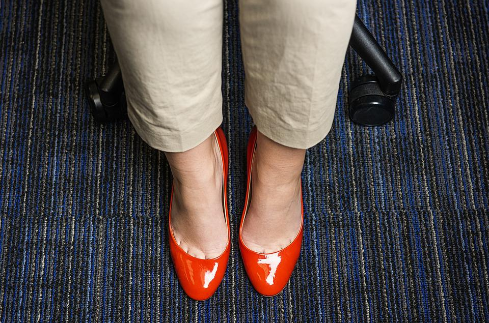 Red Shoes, Red, Work, Office, Carpet, Chair, Pants
