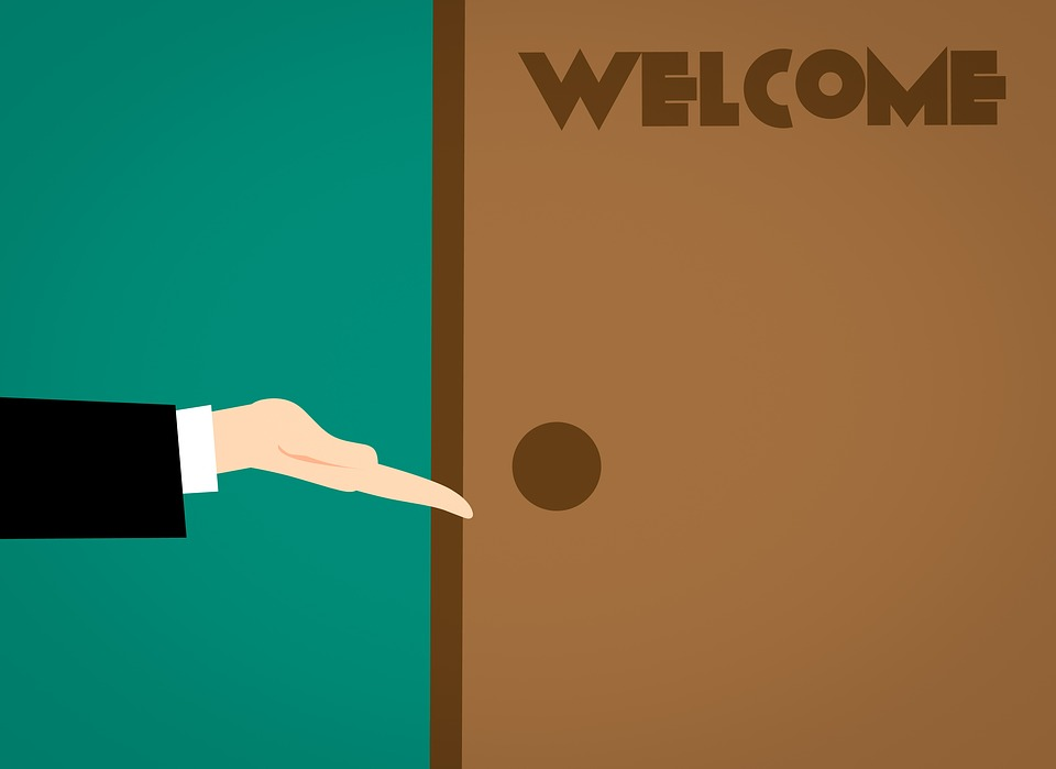 Welcome, Welcoming, Door, Office, Open, Hand, Entryway