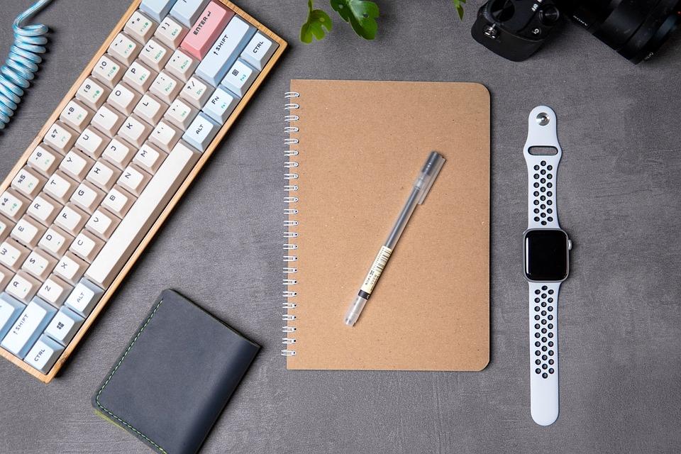 Desk, Office, Workspace, Flat Lay, Apple, Keyboard