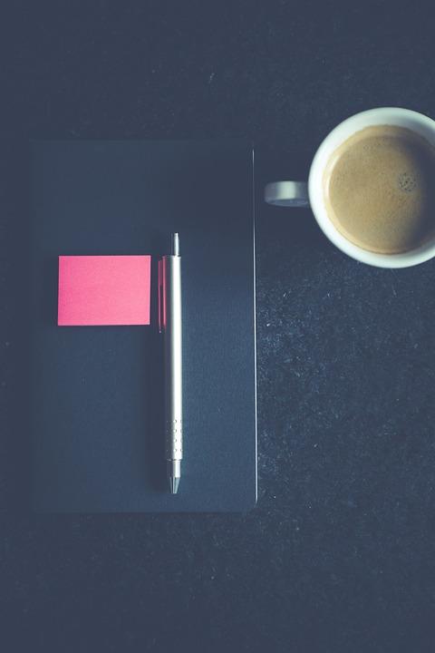 Notebook, Pen, Post-it, Coffee, Cup, Office, Write