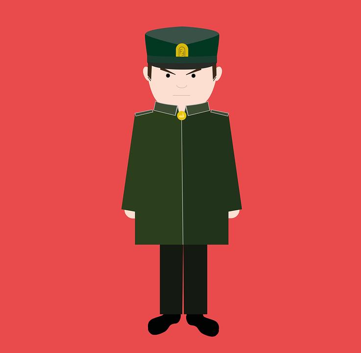 Officer, Soldier, Military, Grumpy, Ernst, Man, Human