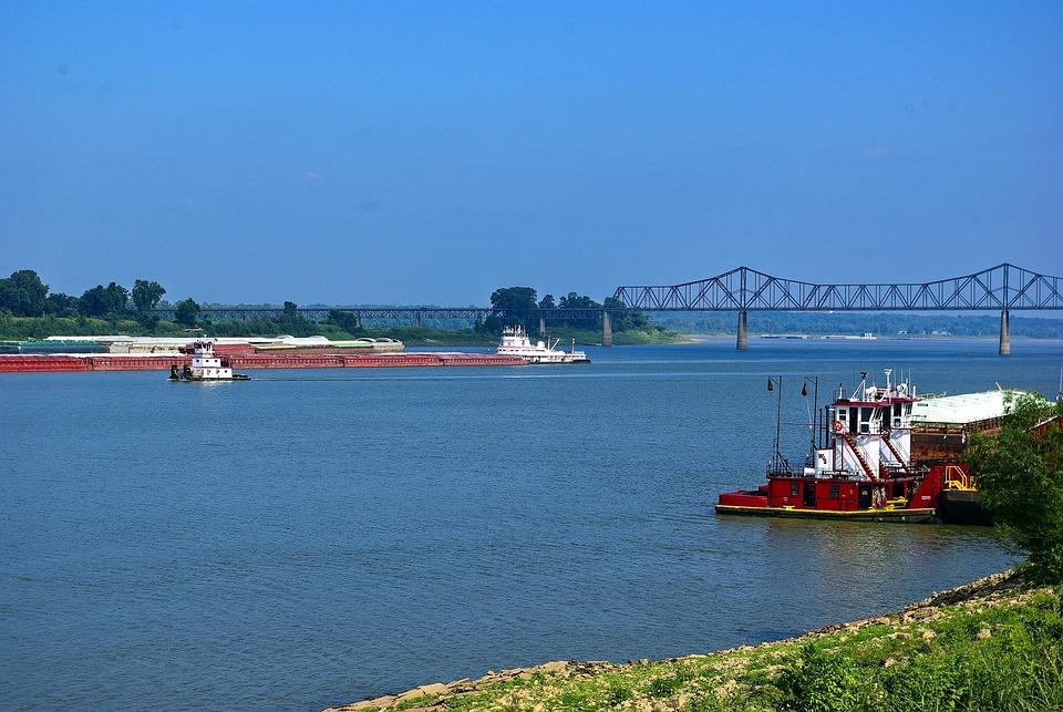 Ohio River Scene, Tugboat, Barge, Bridge, Boat
