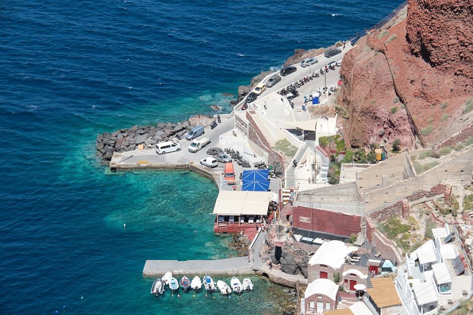 Oia, Santorini, Greece, Travel, White, Port, Blue