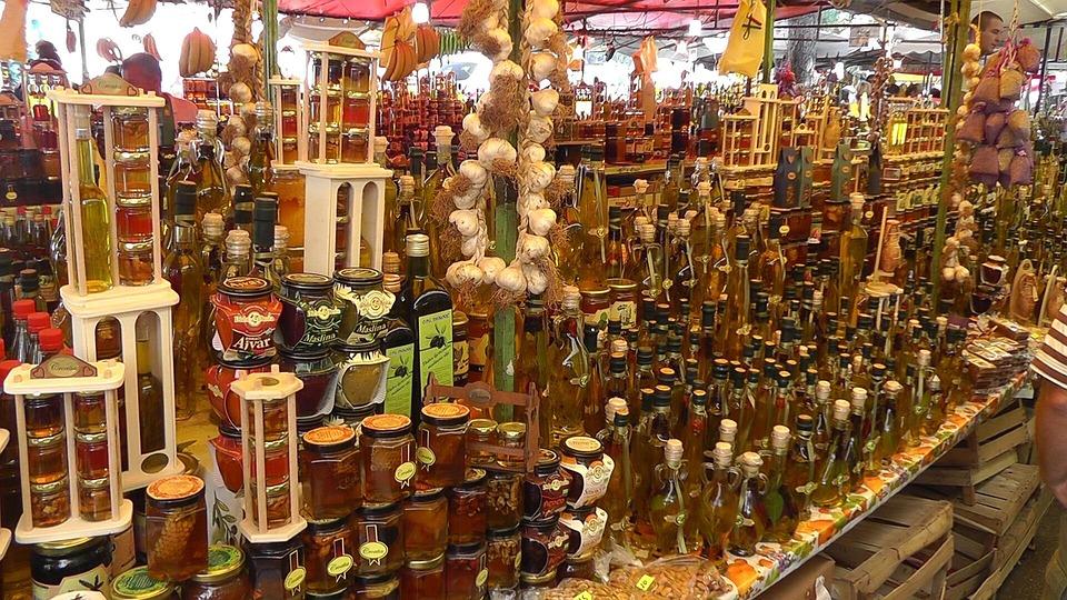 Market, Trogir, Croatia, Oils