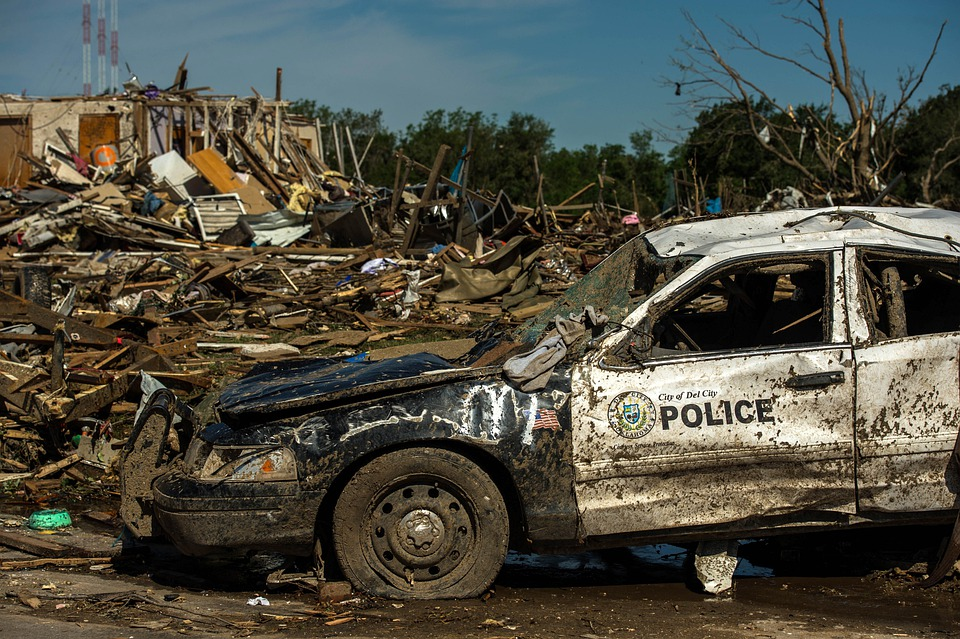 Tornado Damage, Oklahoma, Twister, Police Car