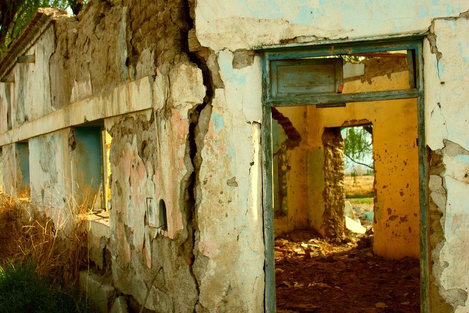 Ruin, Old, Ruins, Door, Old Building, Adobe, Cracks