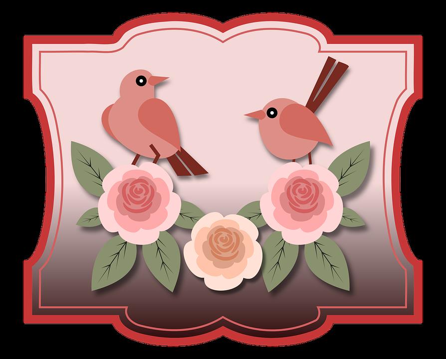 Birds, Animals, Roses, Flowers, Floral, Vintage, Old