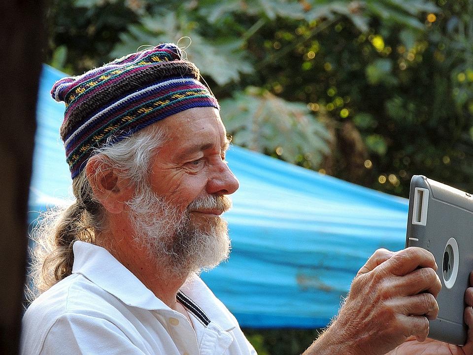 Old, Man, Technology, Senior, Smile, Gray, Beard