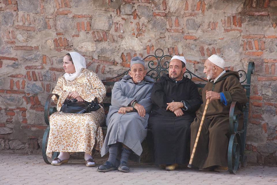 Benches, Marakesh, People, Old