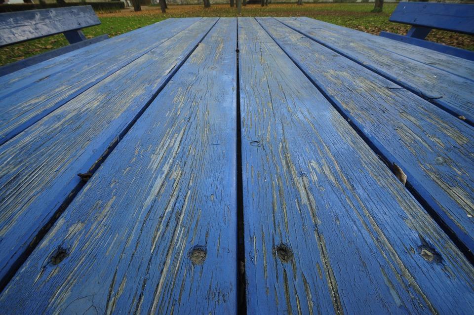 Blue, Wood, Table, Old, Cracked, Garden, Garden Bench