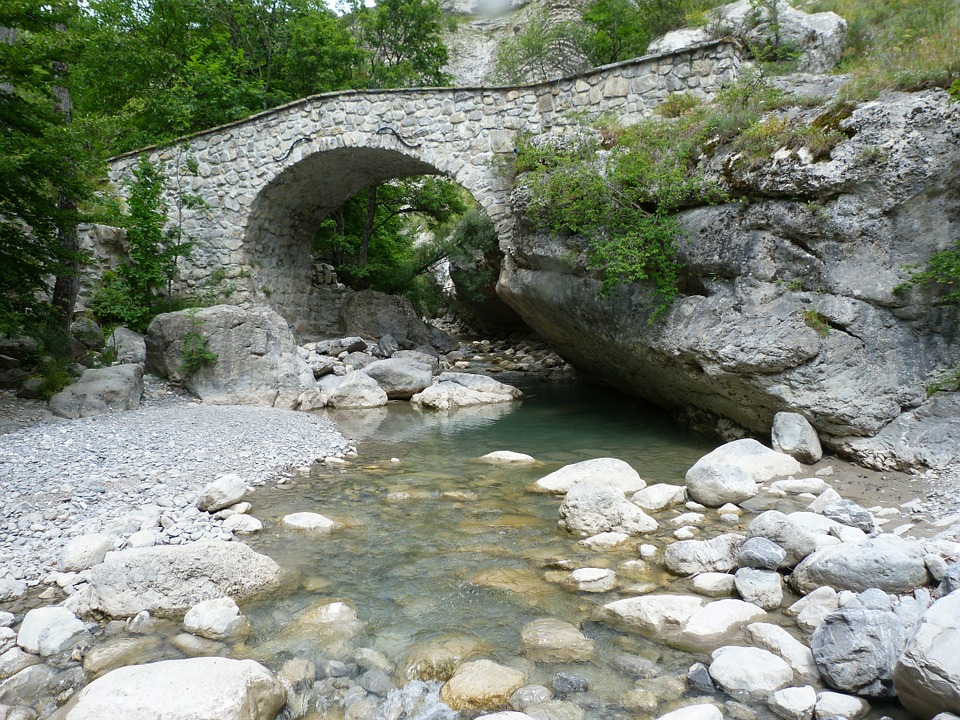 Bridge, Old, Mountain, Torrent, Old Bridge, Alps