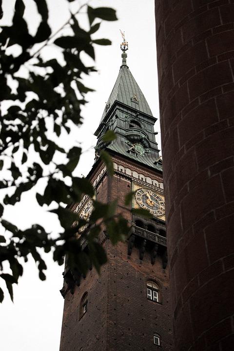 Building, Copenhagen, Old, White, National, Banner