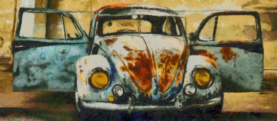 Old Car, Vintage, Automobile, Blue