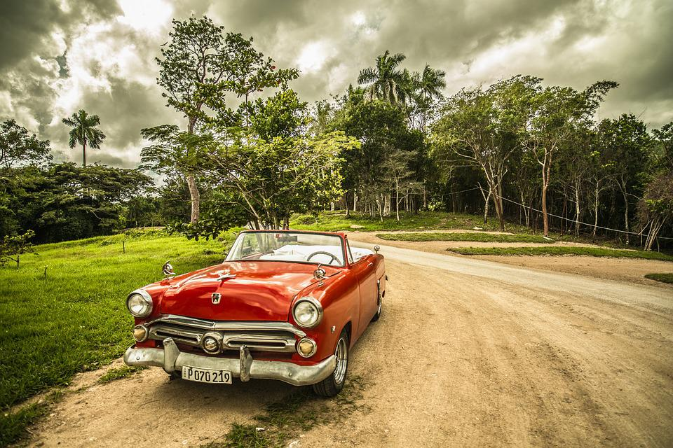 Cuba, Old Car, Forest, Red, Sepia, Travel