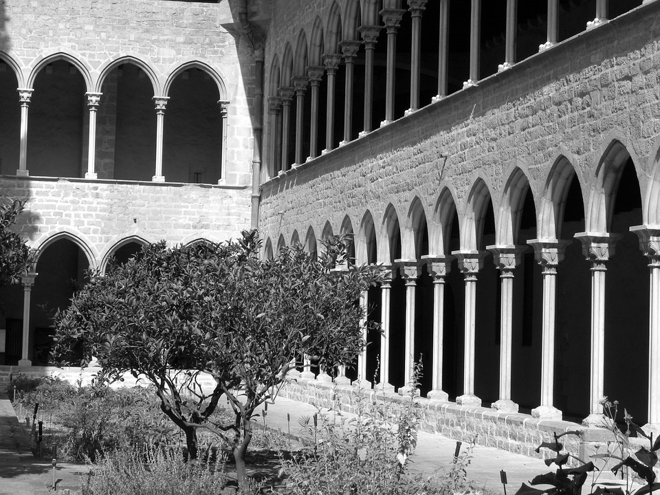 Monastery, Spain, Old, Columns, Arches, Classic