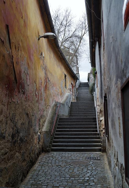 Stairs, Old, Old Town, Cracked Wall, Alley