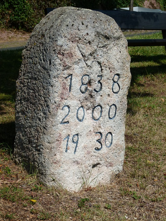 Marker Stone, Dates, Date, Stone, Marker, Old, Carved