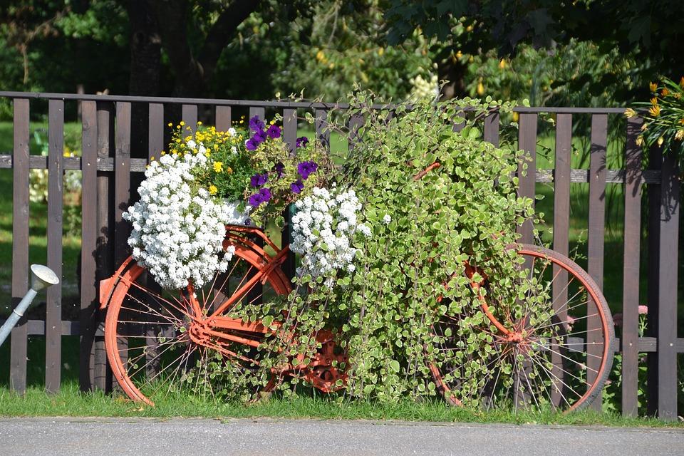 Fence, Bike, Old, Flowers, Decoration, Austria