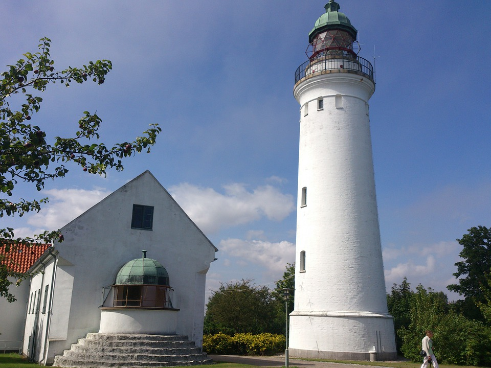 Old, Lighthouse, Building, White, Denmark, Tourism
