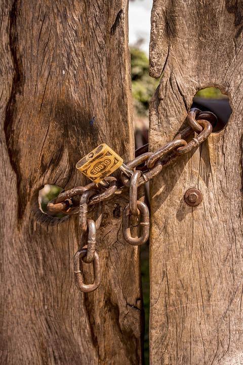 Chains, Doors, Old Doors, Padlock, Security, Closed