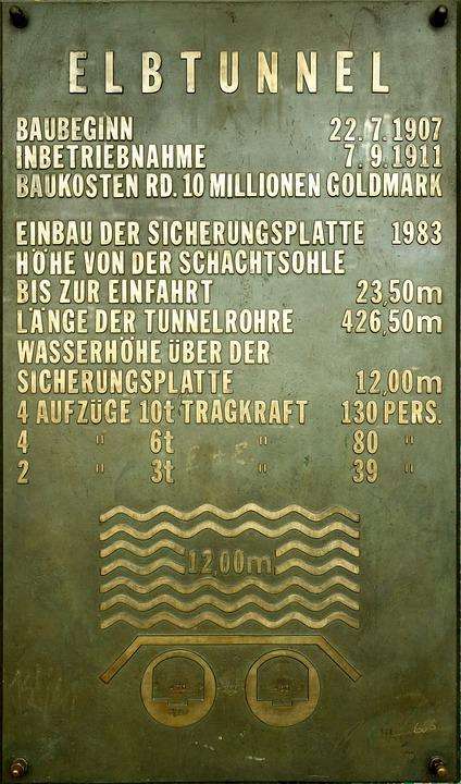 Old Elbe Tunnel, Hamburg, Technical Specifications