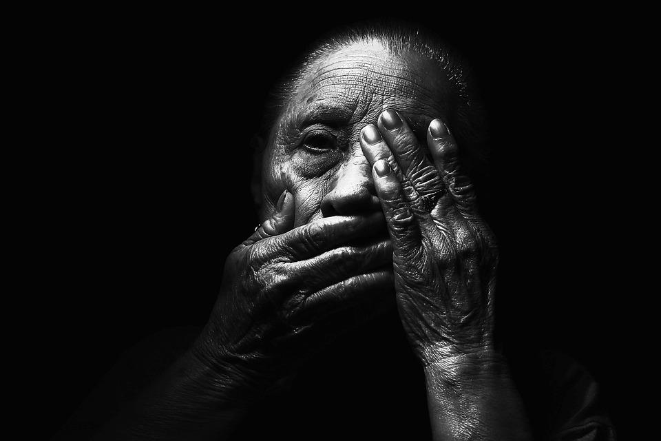 Woman, Old, Aged, Dark, Face, Hands, Light, Elderly