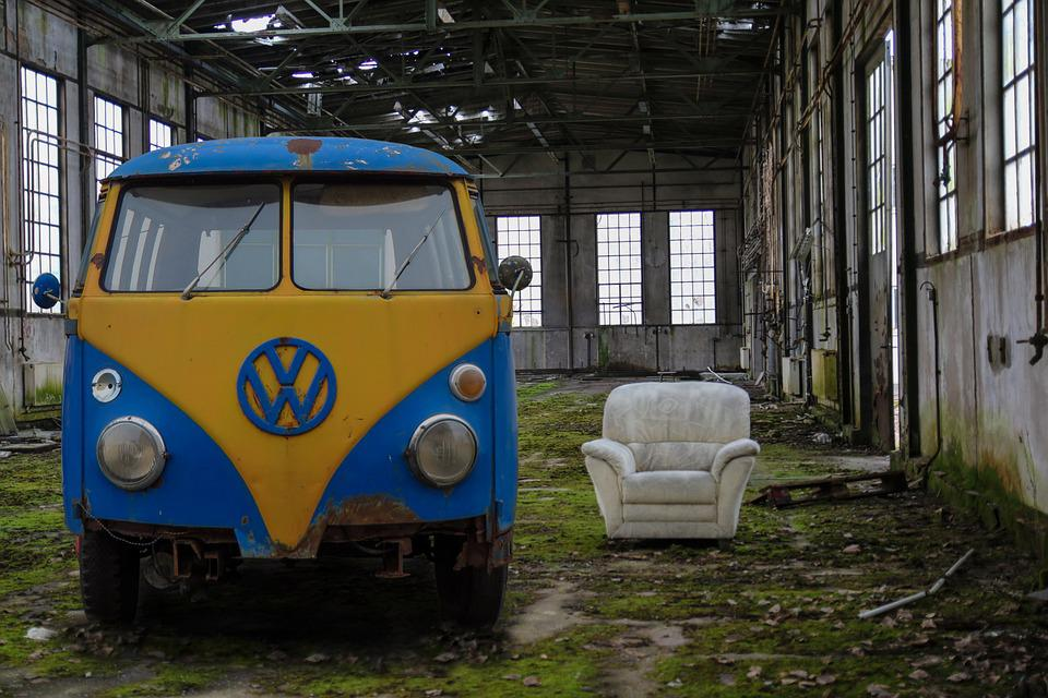 Old Factory, Leave, Auto, Vw Bus, Old, Stainless, Scrap