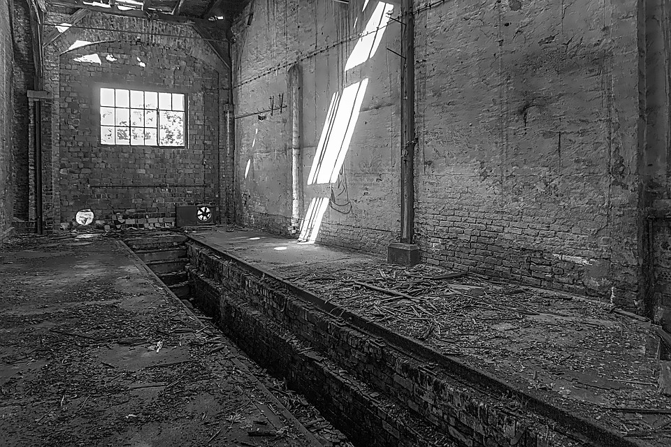 Hall, Factory Hall, Old, Decay, Black, White
