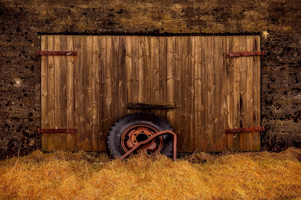 Barn, Shed, Tire, Farm, Building, Facade, Old