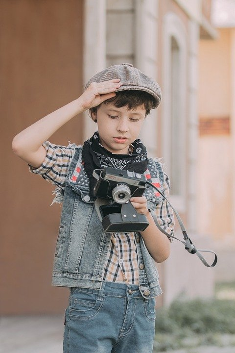 Camera, Boy, Little Boy, Kid, Old Fashion, Vintage