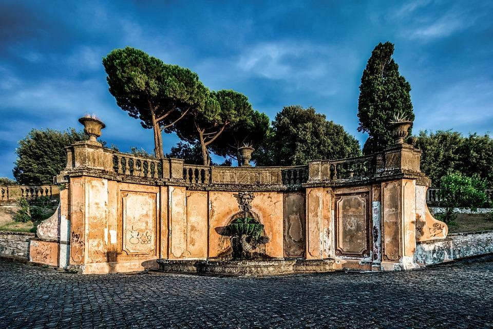 Fountain, Frascati, Italy, Architecture, Old, Landmark