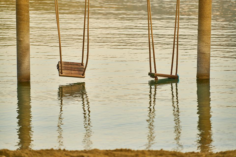 Swing, Old, Rope, Wood, Holiday, Beach, Marine, Tourism