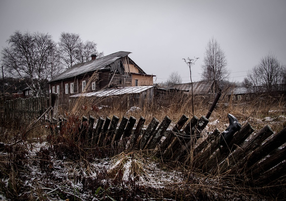 Landscape, Village, Winter, Old House, Fence