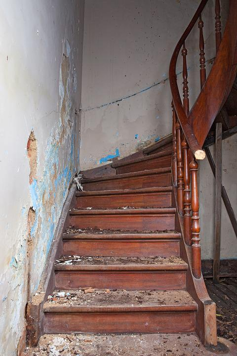 Ladder, Ruin, Steps, Old House, Handrail, Demolition