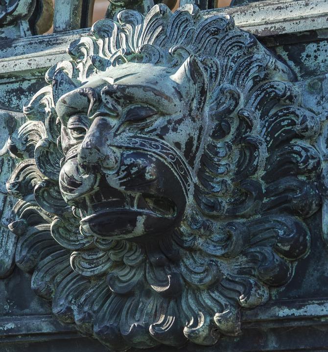 Lion, Goal, Gate, Input, Old, Door, Doorknocker