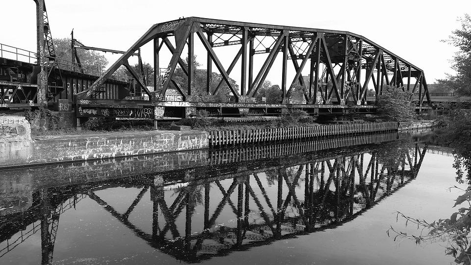 Old, Bridge, Iron, Architecture, Water