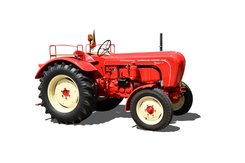 Tractor Porsche, Diesel Super, 1958, Isolated, Old