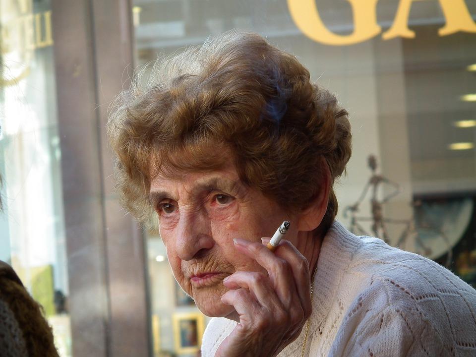 Old Lady, Smoking, Friends Talk, Smoke, Cigarette