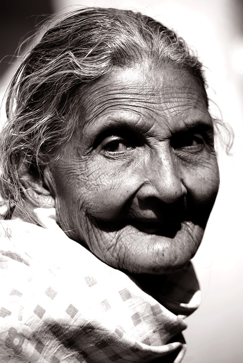 Old lady black and white