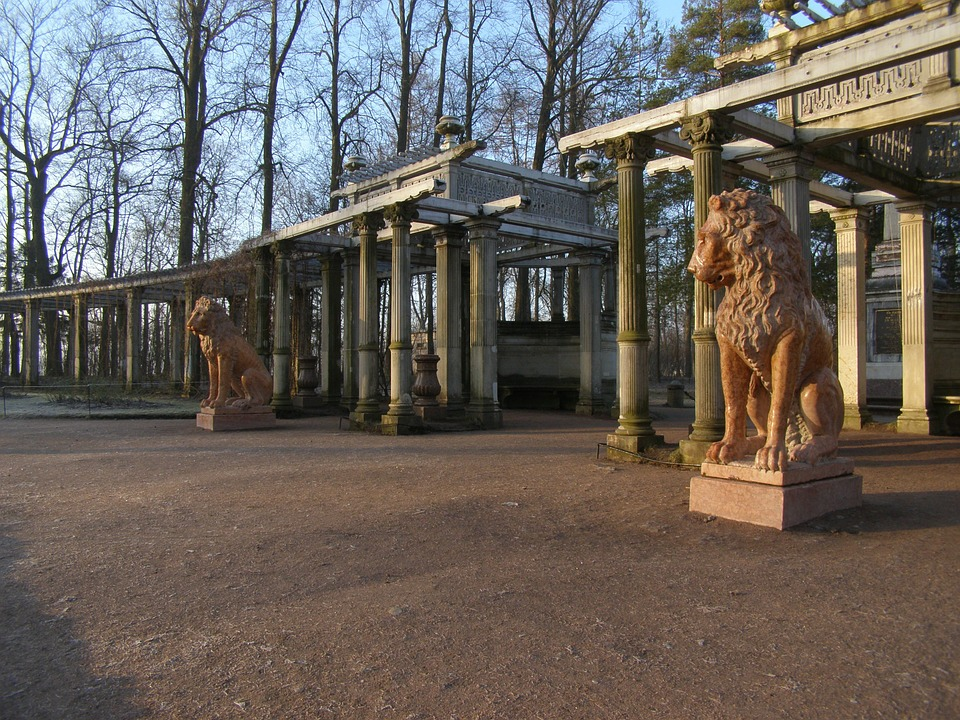 Lion, Morning, Park, Trees, Stone, Architecture, Old