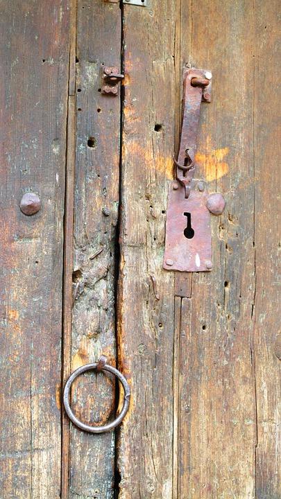 Old, Rustic, Door, Locks, Wooden