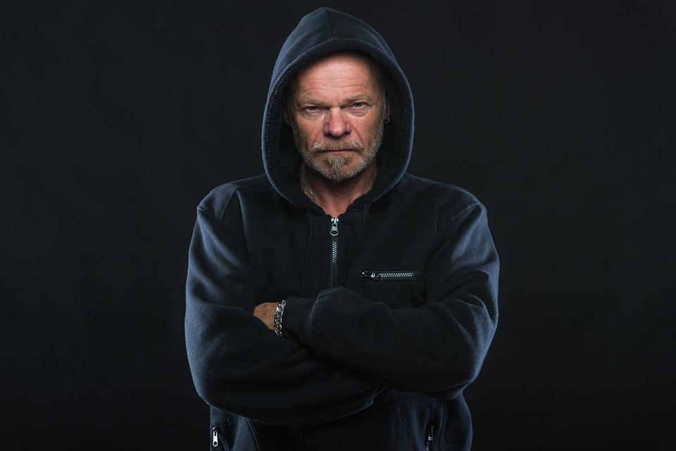 Angry, Man, Hoodie, Old, Bart